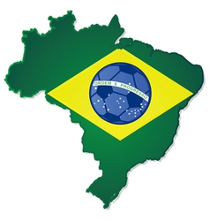 brazil map and flag with soccer ball in middle vector image