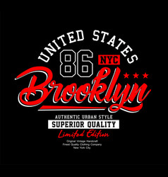 brooklyn sport typography usa style vector image