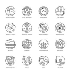 business and data management icons vector image