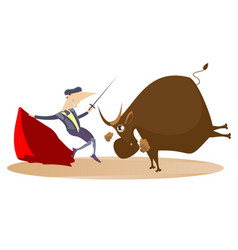 cartoon bullfighter and angry bull vector image