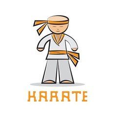 cartoon karate young man design vector image