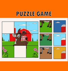 cartoon of educational jigsaw puzzle vector image