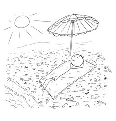 cartoon of man lying on beach polluted by plastic vector image