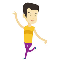 Cheerful asian man dancer dancing vector