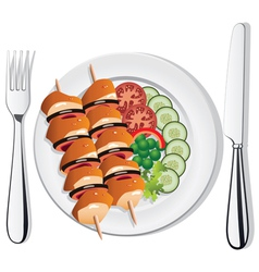 chicken and vegetables on the plate vector image