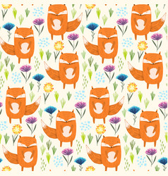 childish pattern with foxes grass and flowers vector image