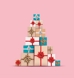 christmas gifts or present colored boxes laid out vector image