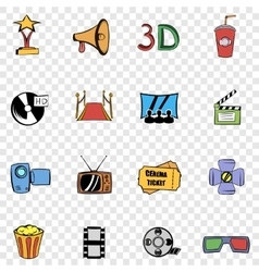 Cinema set icons vector image