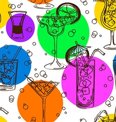 Colorful seamless pattern of cocktails vector image