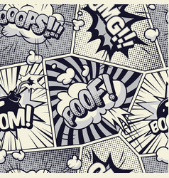 comic monochrome seamless pattern vector image