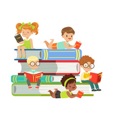 Cute boys and girls sitting on a pile of books and vector