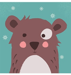 Cute brown bear with snowflakes blue background vector image