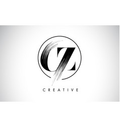 cz brush stroke letter logo design black paint vector image