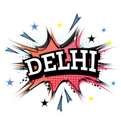 delhi comic text in pop art style vector image