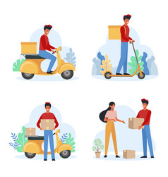 Delivery service male courier flat vector