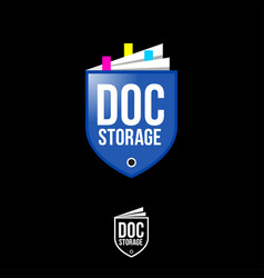 doc storage logo shield like folder paper document vector image
