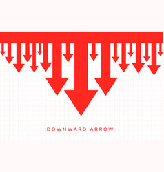 Downward decline arrows in red color background vector