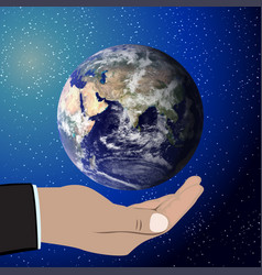 earth in hand elements of this furnished by nasa vector image