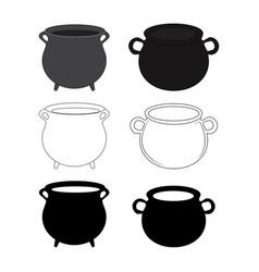 empty witch cauldron pot set cartoon isolated on vector image