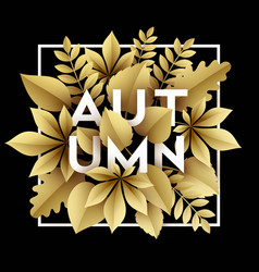 Fall background design with golden paper cut vector
