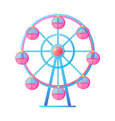 ferris wheel at amusement park attraction vector image