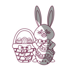 figure rabbit easter with eggs inside of hamper vector image
