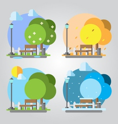 Flat design four seasons park vector
