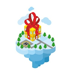 Flying residence of Santa Claus Building gift vector
