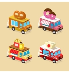 Food Truck Designs Set of Icons vector
