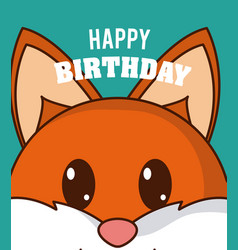 fox cute birthday card vector image