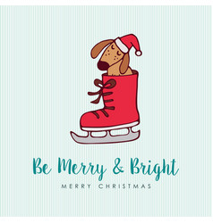 Funny christmas puppy dog cartoon greeting card vector