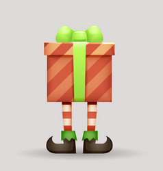 gift box christmas elf legs santa claus new year vector image
