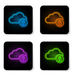 glowing neon cloud computing lock icon isolated vector image