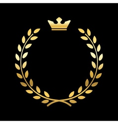 Gold laurel wreath with crown vector