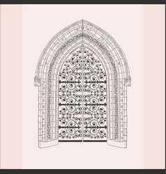 Gothic gate hand drawn sketch vintage doors vector