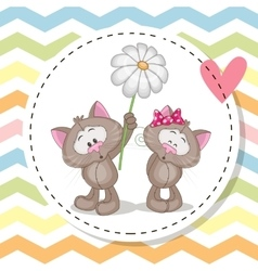 Greeting card with two Cats vector