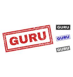 Grunge guru textured rectangle stamps vector