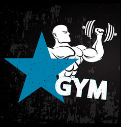 Gym athlete with dumbbells vector