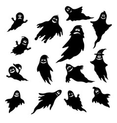 Halloween ghosts silhouettes vector