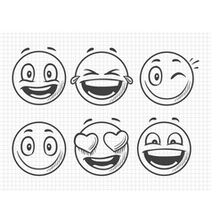 hand drawn positive emojis smile sketch vector image