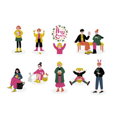 happy easter children celebrating holiday boys vector image