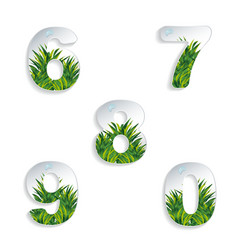 Icons 6 7 8 9 0 numbers with grass effect vector image