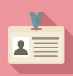 id badge icon flat style vector image