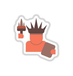 In paper sticker style statue vector