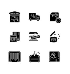 Inventory management black glyph icons set vector