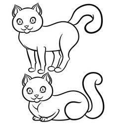 Isolated black-n-white lying and standing cat vector