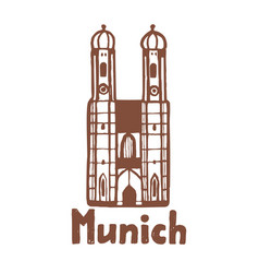isolated munich frauenkirche in hand drawn style vector image