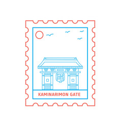 kaminarimon gate postage stamp blue and red line vector image