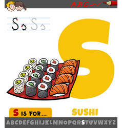 Letter s worksheet with cartoon sushi food objects vector