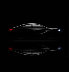 lightened car darkness realistic reflection vector image